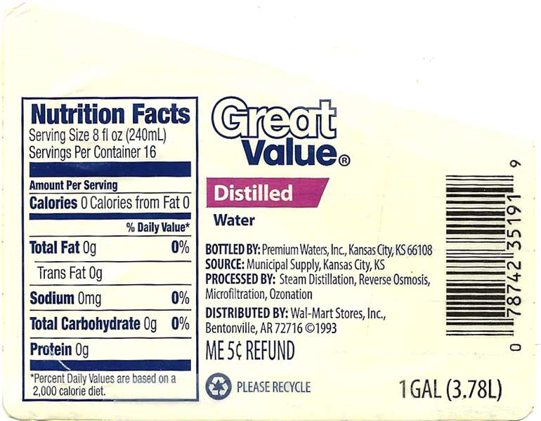 Great Value Distilled Water Label
