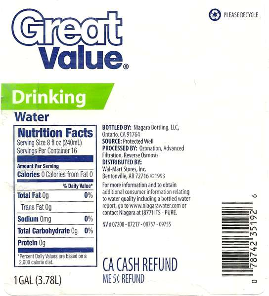 Great Value Drinking Water Label