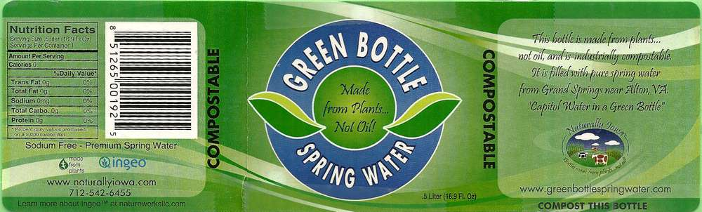 Green Bottle Spring Water Label