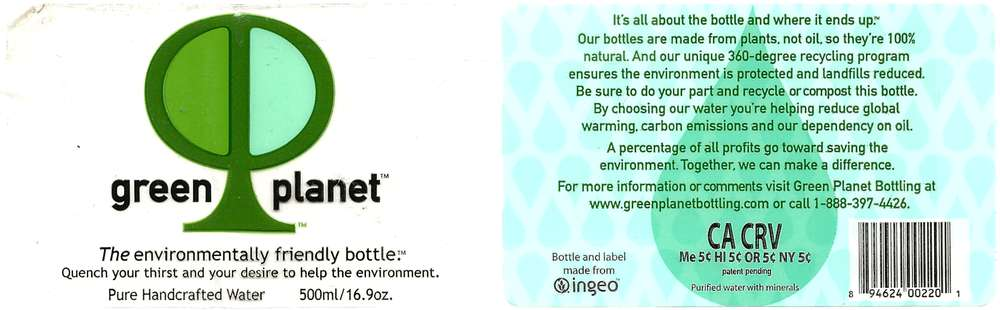 Green Planet Pure Handcrafted Water Label