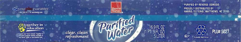 Harris Teeter Purified Water Label