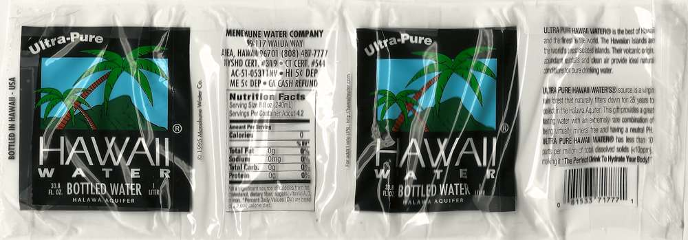 Hawaii Water Bottled Water Label