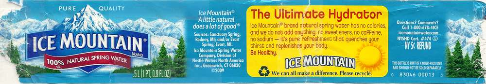 Ice Mountain Natural Spring Water Label