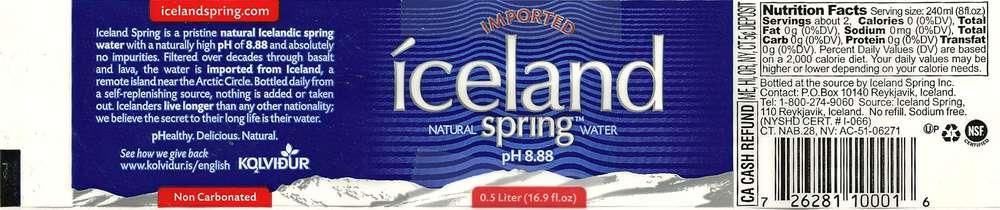 Iceland Spring Natural Spring Water Label