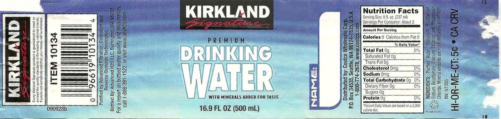 Kirkland Signature Premium Drinking Water Label