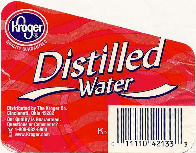 Kroger Distilled Water Label
