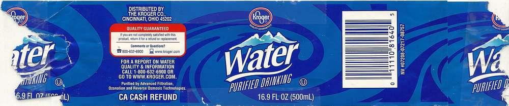 Kroger Purified Drinking Water Label
