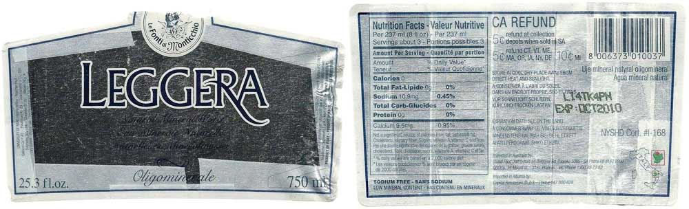Leggera Natural Mineral Water Label