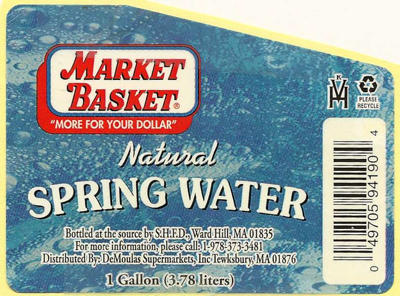Market Basket Natural Spring Water Label