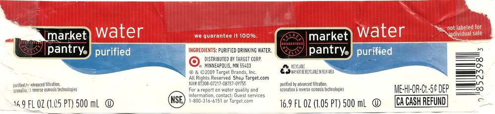 Market Pantry Purified Water Label