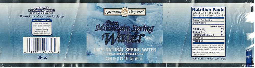 Naturally Preferred Pure Mountain Spring Water Label