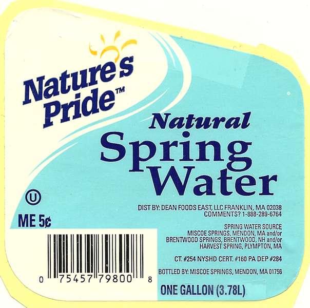 Nature's Pride Natural Spring Water Label