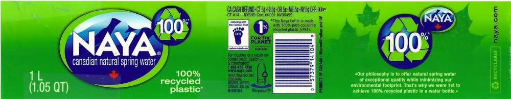 Naya Canadian Natural Spring Water Label