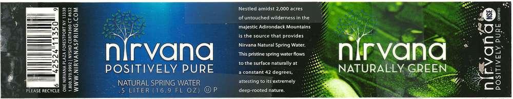 Nirvana Natural Spring Water Label