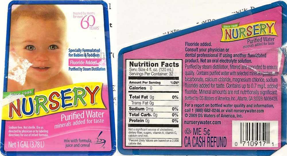 Nursery Purified Water Label