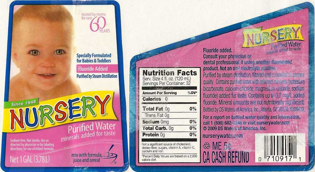 Nursery Purified Water Label