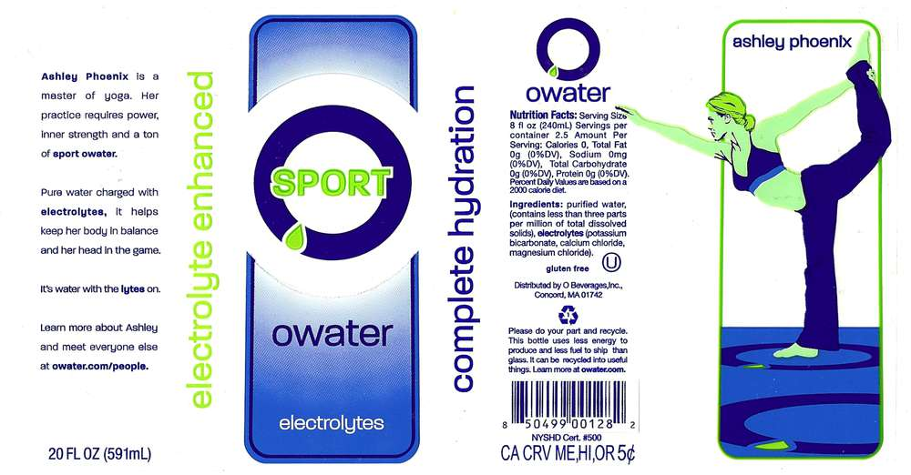 O Water Sport Electrolyte Enhanced Purified Drinking Water Label