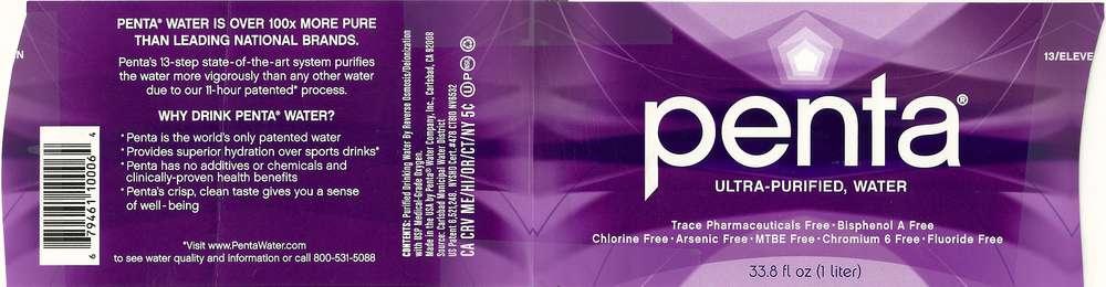 Penta Ultra-Purified Water Label
