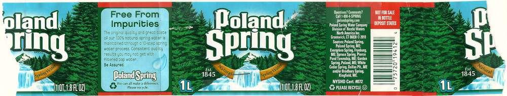 Poland Spring Natural Spring Water Label