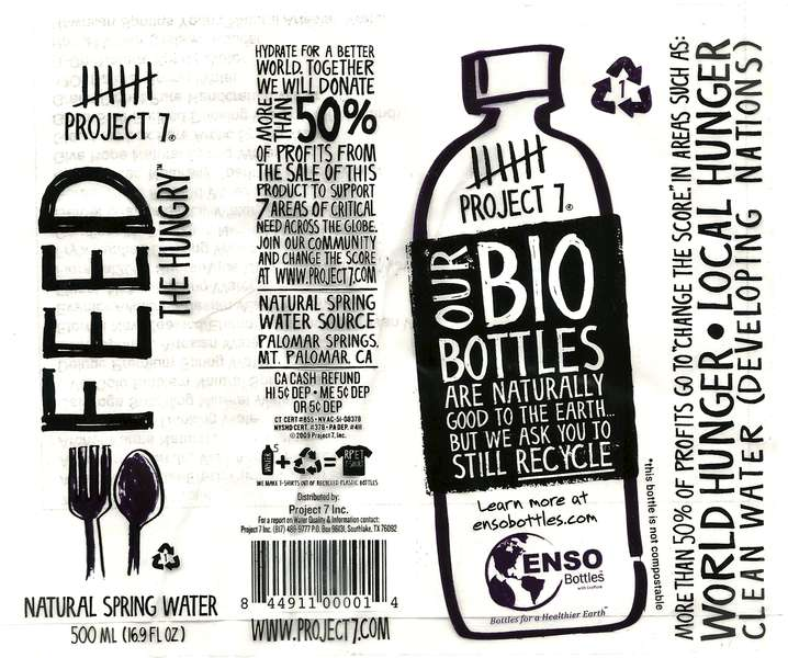 Project 7 Feed The Hungry Natural Spring Water Label