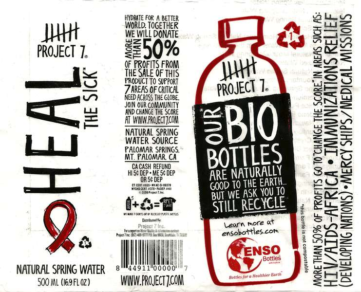 Project 7 Heal The Sick Natural Spring Water Label