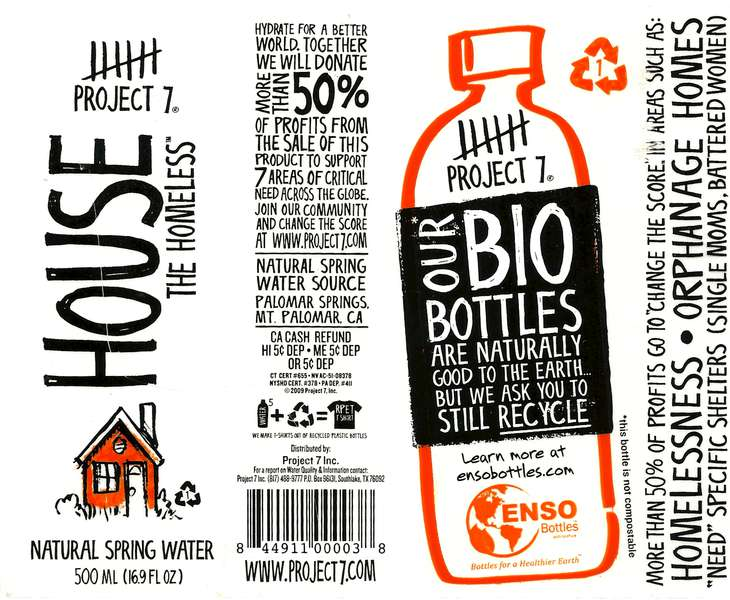 Project 7 House the Homeless Natural Spring Water Label