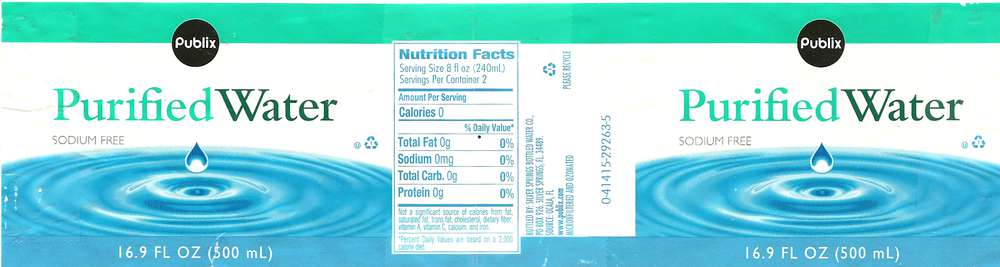 Publix Purified Water Label