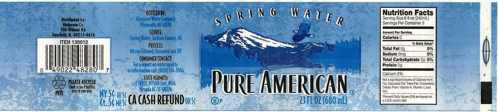 Pure American Spring Water Label