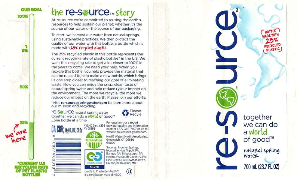 re-source Natural Spring Water Label
