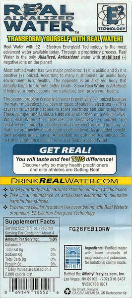Real Alkalized Water Label