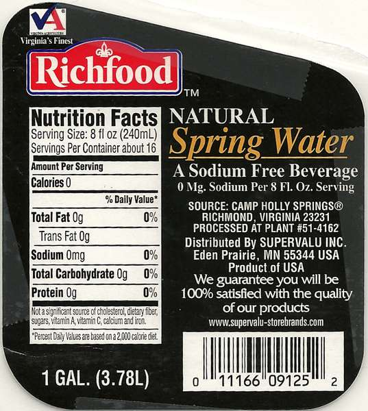 Richfood Natural Spring Water Label