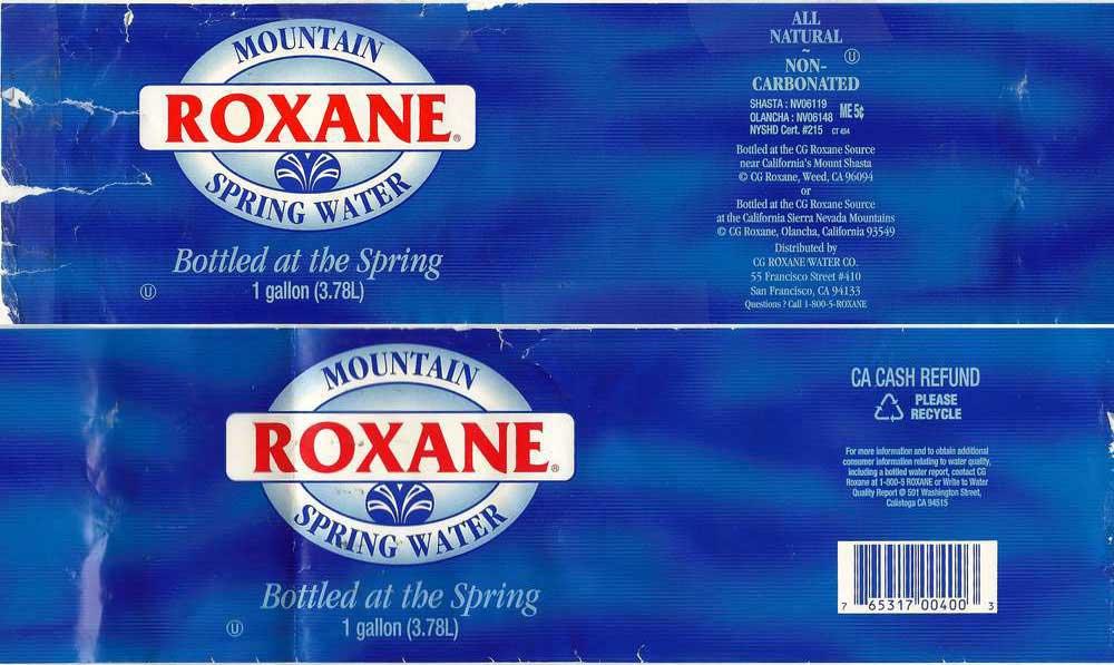 Roxane Mountain Spring Water Label