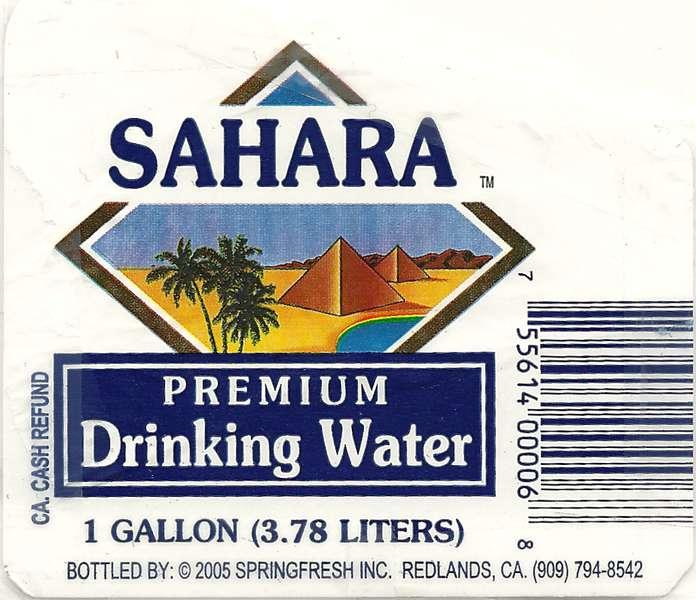 Sahara Premium Drinking Water Label