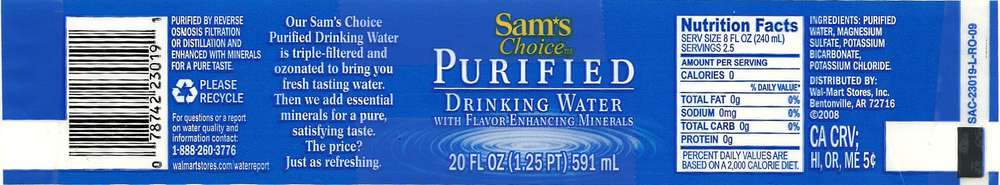 Sam's Choice Purified Drinking Water Label