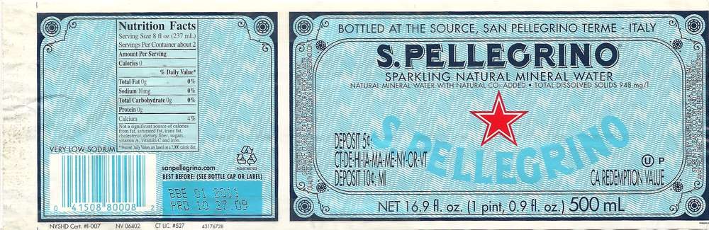 S. Pellegrino Sparkling Natural Mineral Water Label