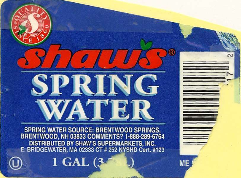 Shaw's Spring Water Label