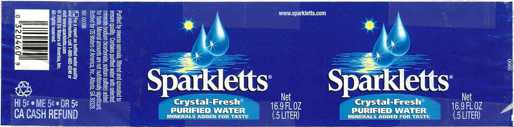 Sparkletts Crystal-Fresh Purified Water Label