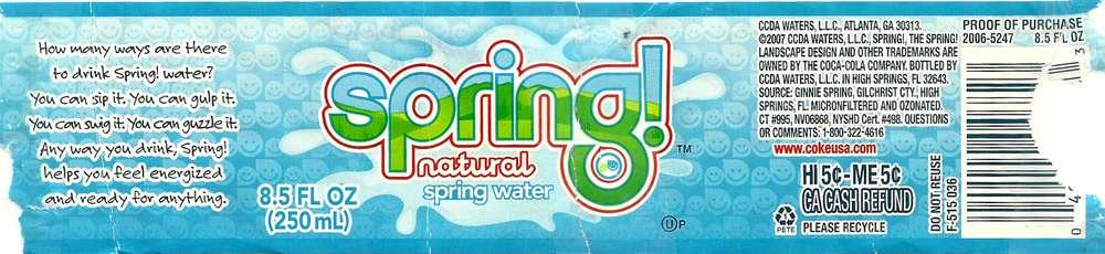 Spring! Natural Spring Water Label