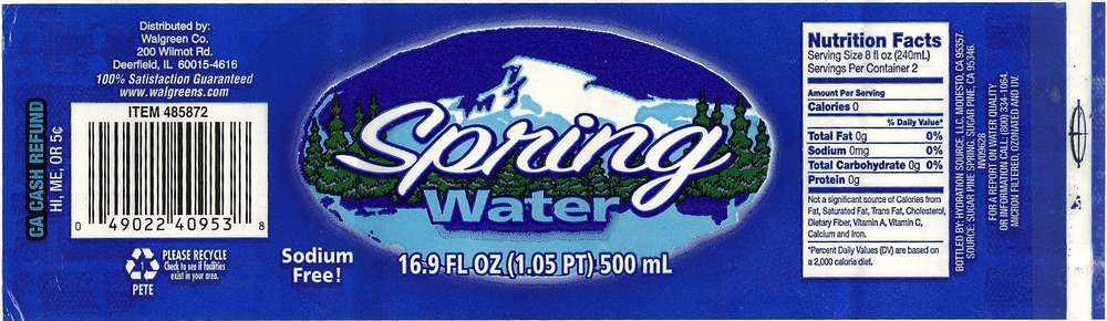 (Walgreens) Spring Water  Label