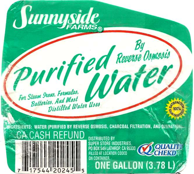 Sunnyside Farms Purified water Label