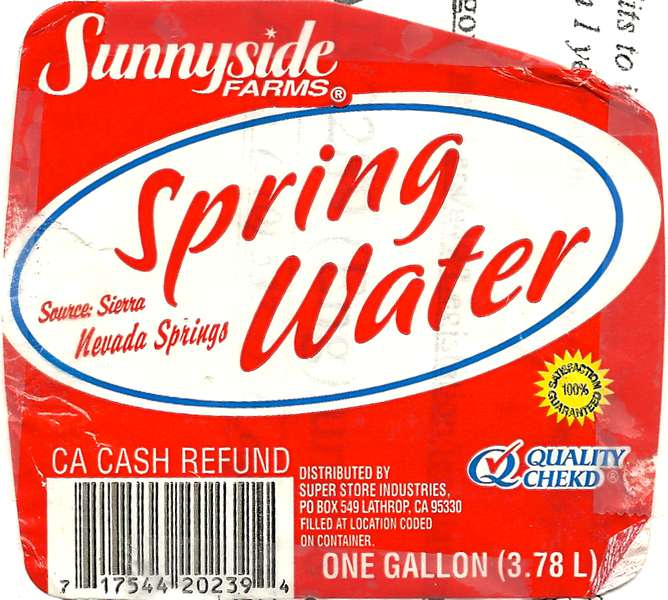 Sunnyside Farms Spring water Label