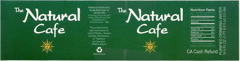 The Natural Cafe Purified Drinking Water Label