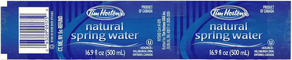 Tim Hortons Natural Spring Water Label