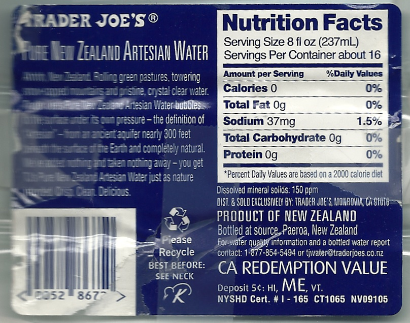 Trader Joe's Pure New Zealand Artesian Water Label