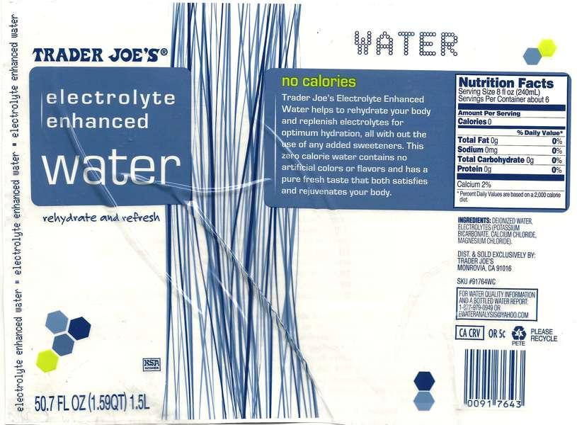 Trader Joe's Electrolyte Enhanced Water Label