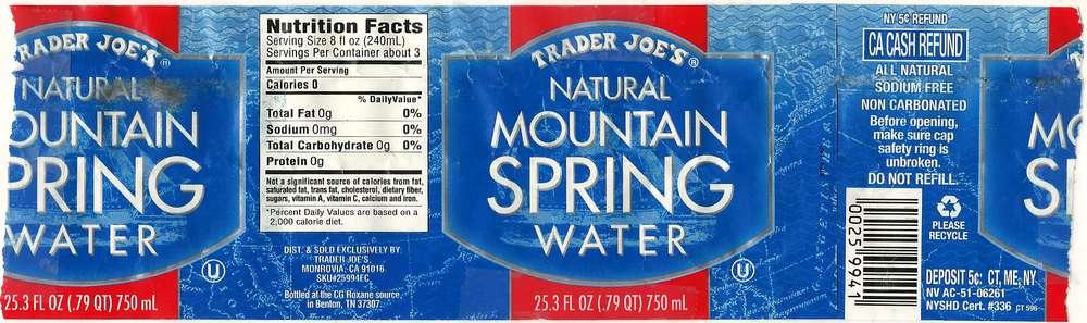 Trader Joe's Natural Mountain Spring Water Label