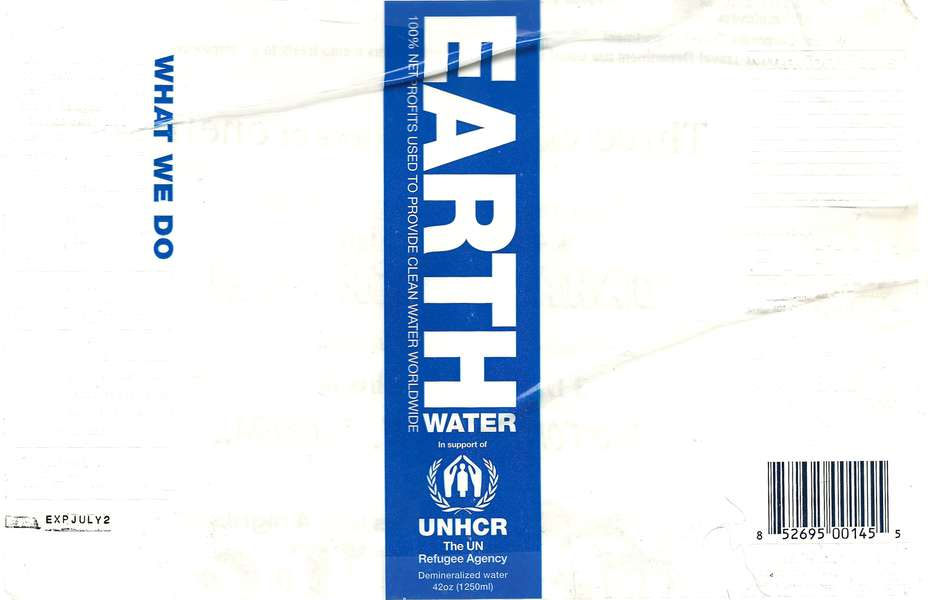 UNHCR Earth Water Demineralized Water Label