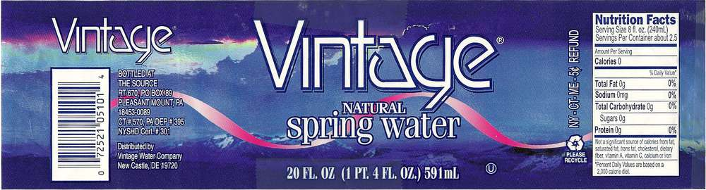 Vintage Natural Spring Water Label