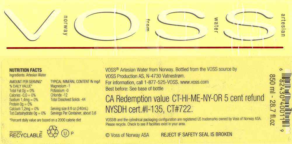 Voss Artesian Water Label