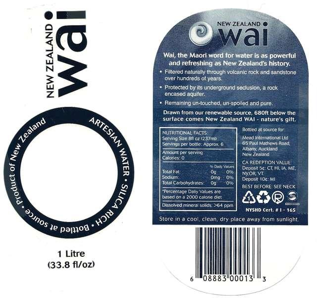 New Zealand Wai Artesian Water Label